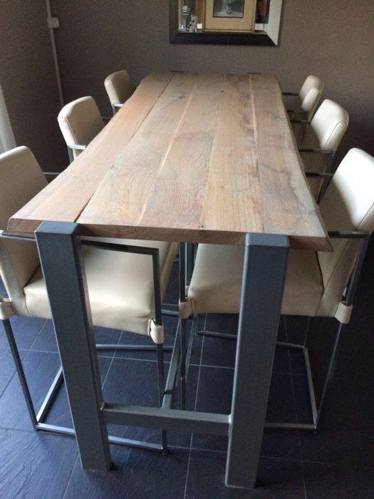 hoge eettafel met stalen onderstel - meubelmakerij kroon